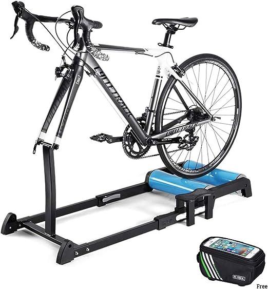 GWSPORT Rodillos para Bicicleta de Carretera, Rodillo Portátil Cubierta del Jinete De La Bici Trainer con Rueda Delantera Ajustable Y Plegable Soporte del Rodillo para 24