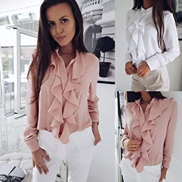 feff358f347ed2 Malbaba Womens Long Sleeve Blouse Ruffle Front Shirt Ladies Office Tops at  Amazon Women's Clothing store: