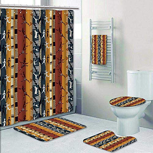 Philip-home 5 Piece Banded Shower Curtain Set Seamless African with Figures of Primitive People and Animals Decorate The Bath by Philip-home