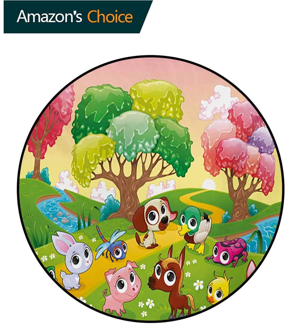 RUGSMAT Cartoon Round Area Rug Carpet,Kids Nursery Theme Animals in The Forest with Nice Flowers Illustration Artwork Living Dining Room Bedroom Hallway Office Carpet,Round-63 Inch