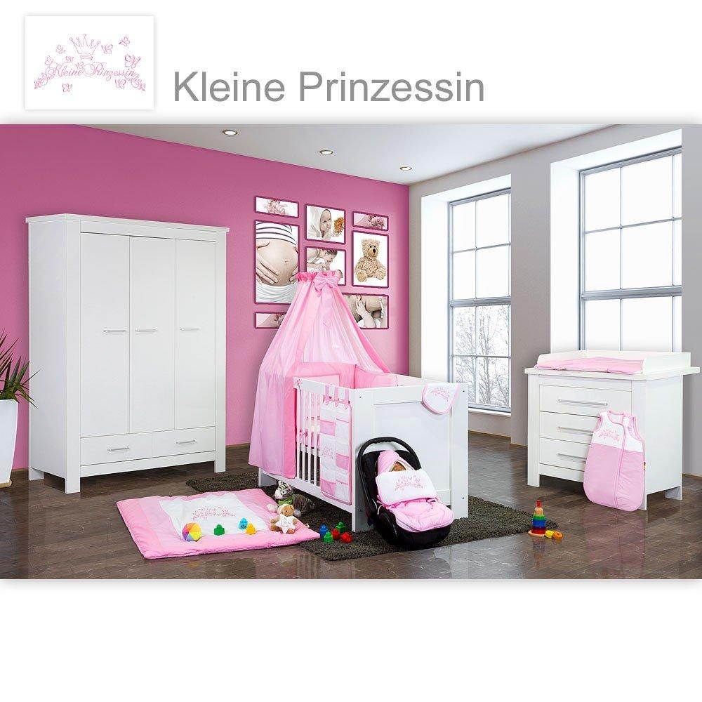 Babyzimmer Enni in weiss 10 tlg. mit 3 türigem Kl. + Textilien von Kleine Prinzessin in Rosa