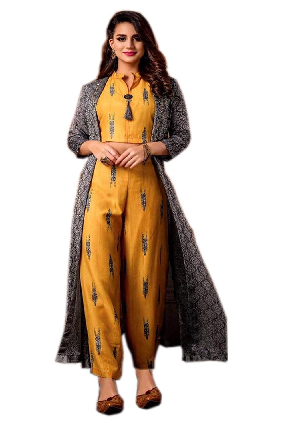14aa6fd095b Adorvii Women's Crop Top with Palazzo Pant and Shrug (AD-34E, Yellow and  Grey, 40): Amazon.in: Clothing & Accessories