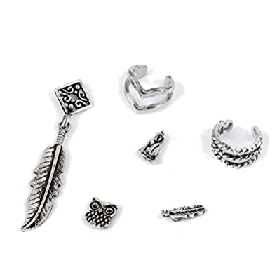 11bfedf08 Zealmer Cuff Earring Set Vintage Boho Stud Earrings Carved Piercing Non  Piercing Ear Cuff Owl Leaf