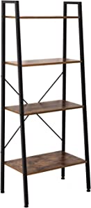 IRONCK Industrial Bookshelf, Ladder Bookcase 4-Tier Ladder Shelf, Storage Shelves Rack Shelf Unit, Wood Look Accent Furniture Metal Frame, Vintage Home Office Furniture for Living Room, Bathroom