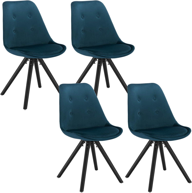 WOLTU Set di 4 Sedie da Pranzo Moderne Seduta Imbottita con Schienale Senza Braccioli in Velluto Bordeaux BH196bd-4