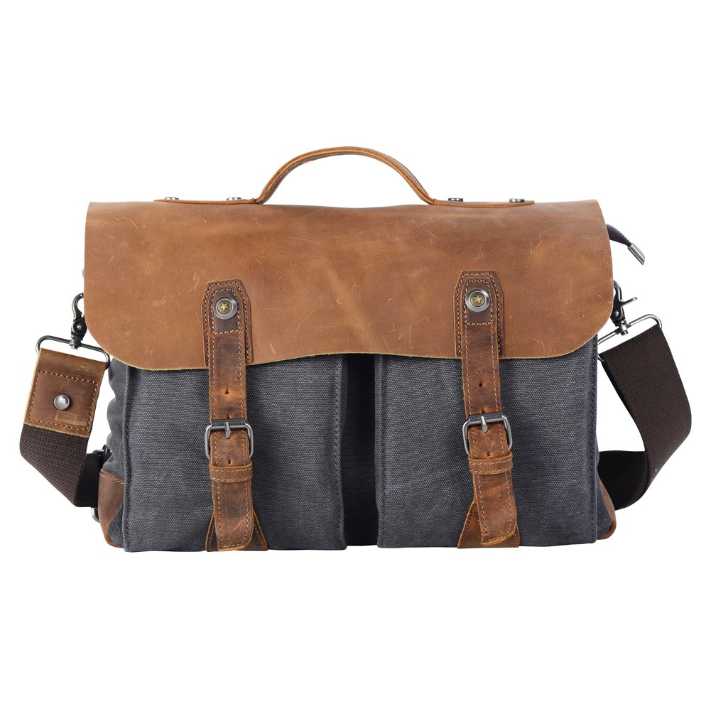 Wonder Youth Vintage Messenger Bag Canvas and Genuine Leather Briefcase Shoulder Laptop Bag Grey