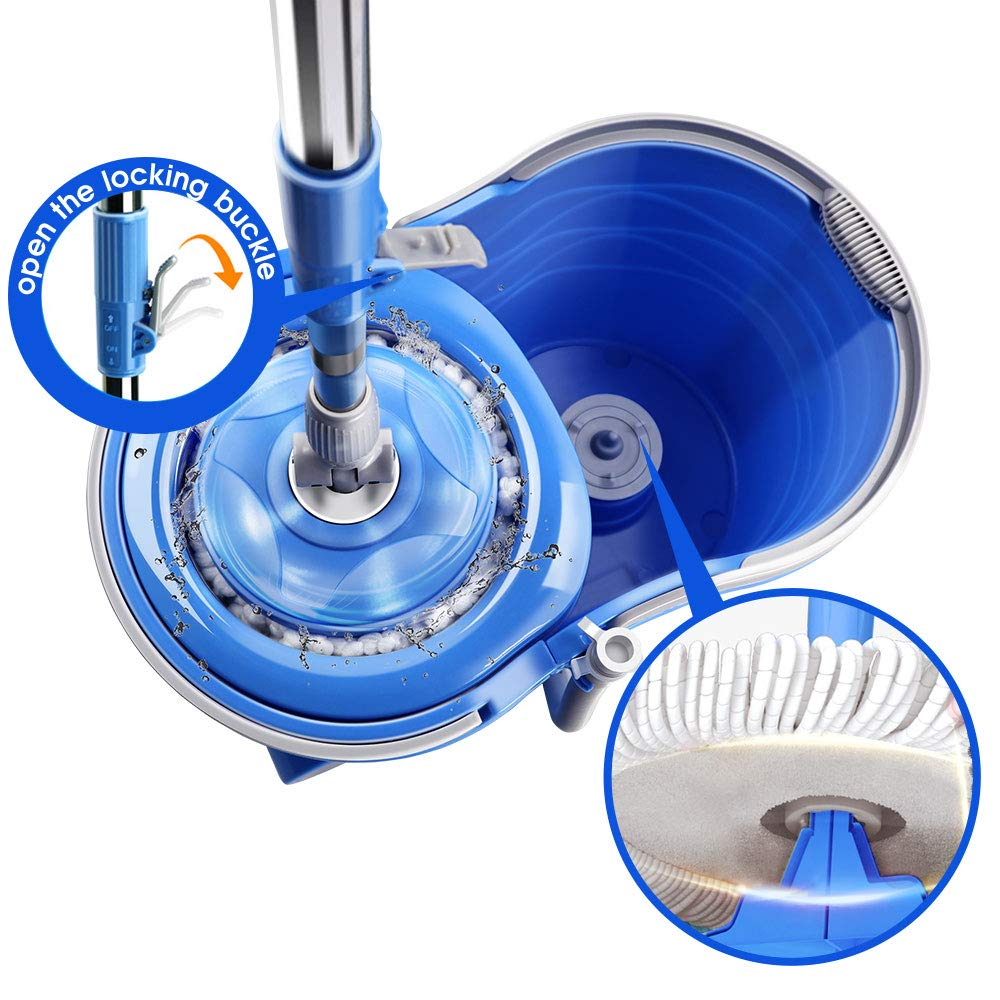 12L Magic Wheel Spin Mop and Stainless Steel Rotating Bucket Set for Floor Cleaning with 3Pcs Microfiber and 1 Pc Floor Brush Mop Head