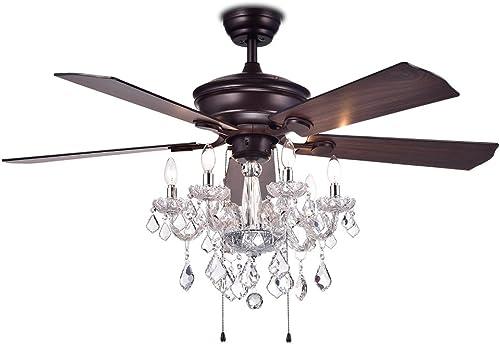 Warehouse of Tiffany CFL-8213AB Havorand 52″ 5-Blade Ceiling Fan Crystal Chandelier