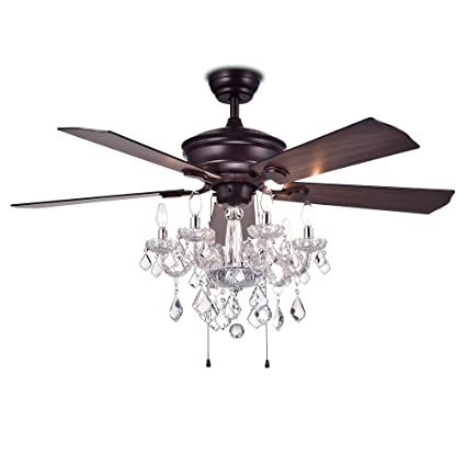 Warehouse of tiffany cfl 8213ab havorand 52 5 blade ceiling fan crystal chandelier