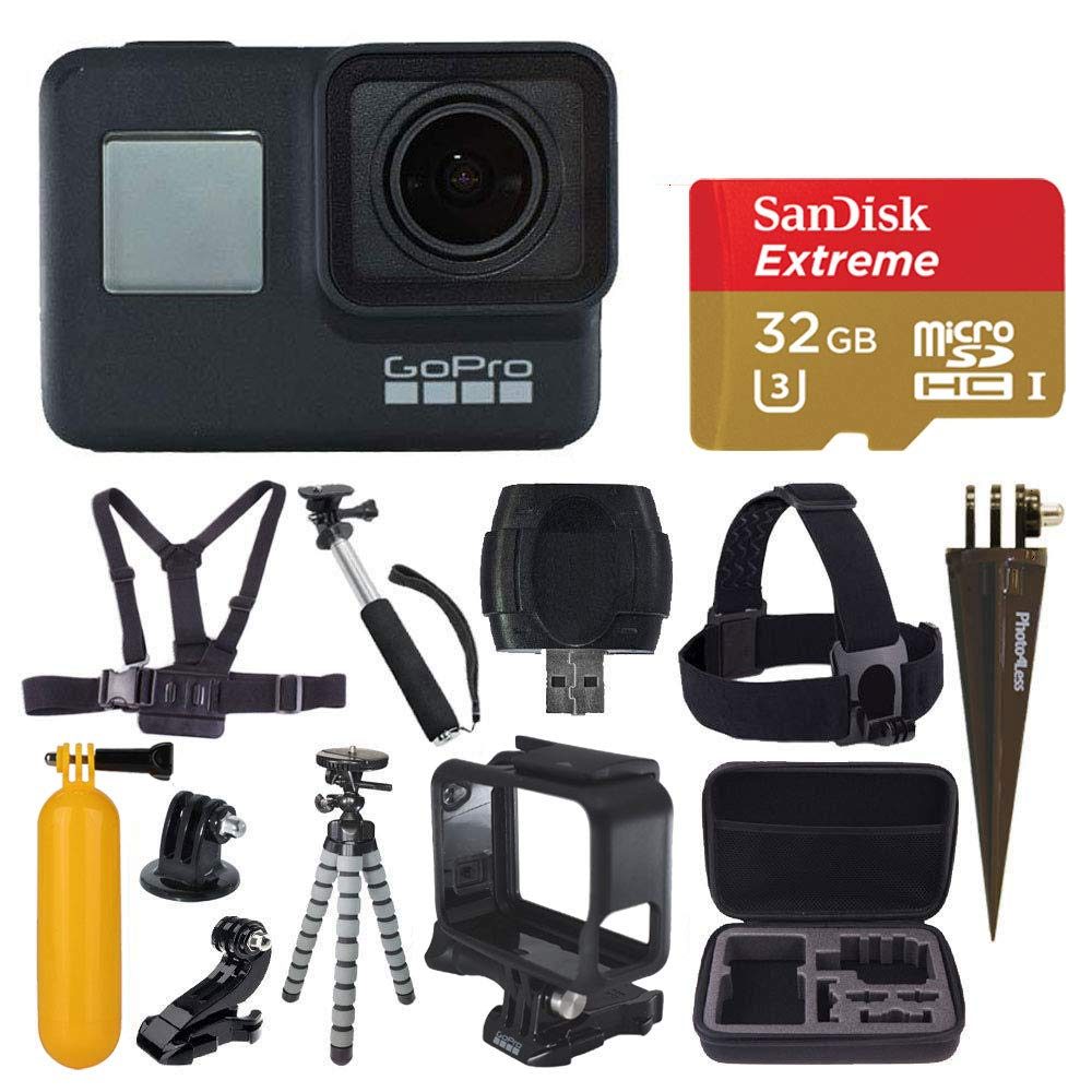 GoPro HERO7 Black Digital Action Camera with 4K HD Video 12MP Photos, SanDisk 32GB Micro SD Card, Hard Case - Gopro Hero 7 Accessory Bundle by GoPro
