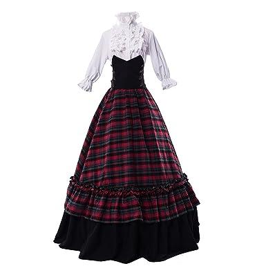 a0318202ecc Partiss Womens Blouse Ball Gown Masquerade Gothic Lolita Dress Tartan  Skirt