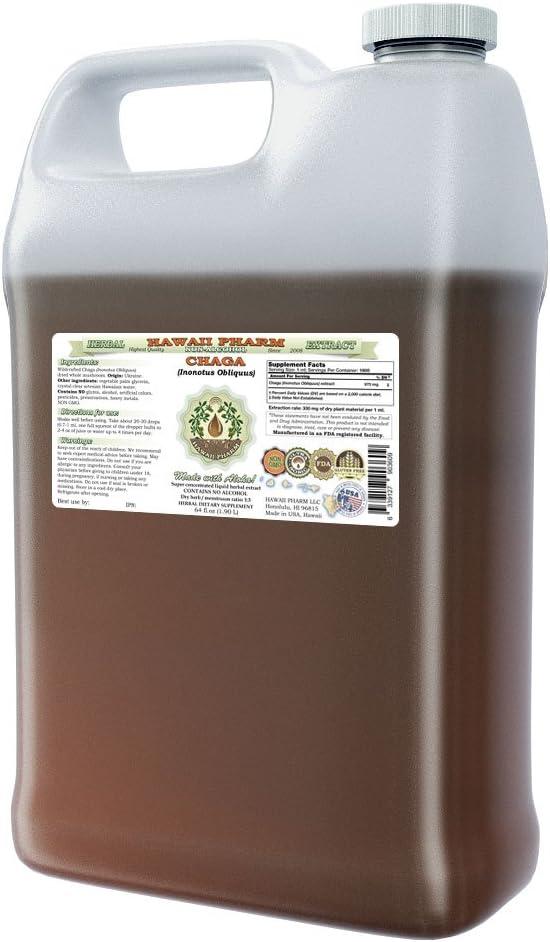 Chaga Alcohol-FREE Liquid Extract, Chaga Inonotus obliquus Whole Mushroom Dried Glycerite 64 oz