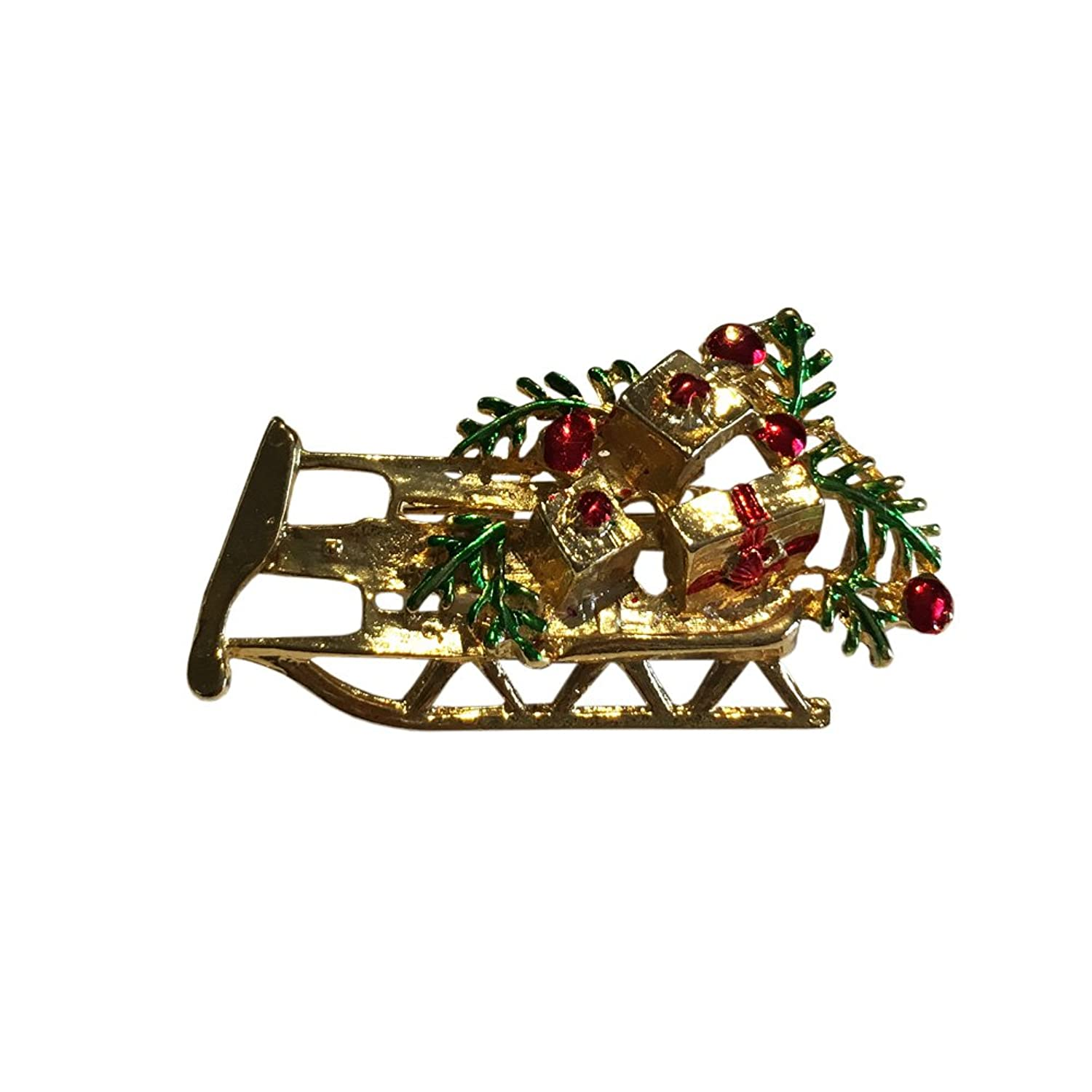 Hand Crafted Holidays Brooches and Pins, Christmas Theme, Reindeer Brooch, Jingle Bell (Santa Sleigh)