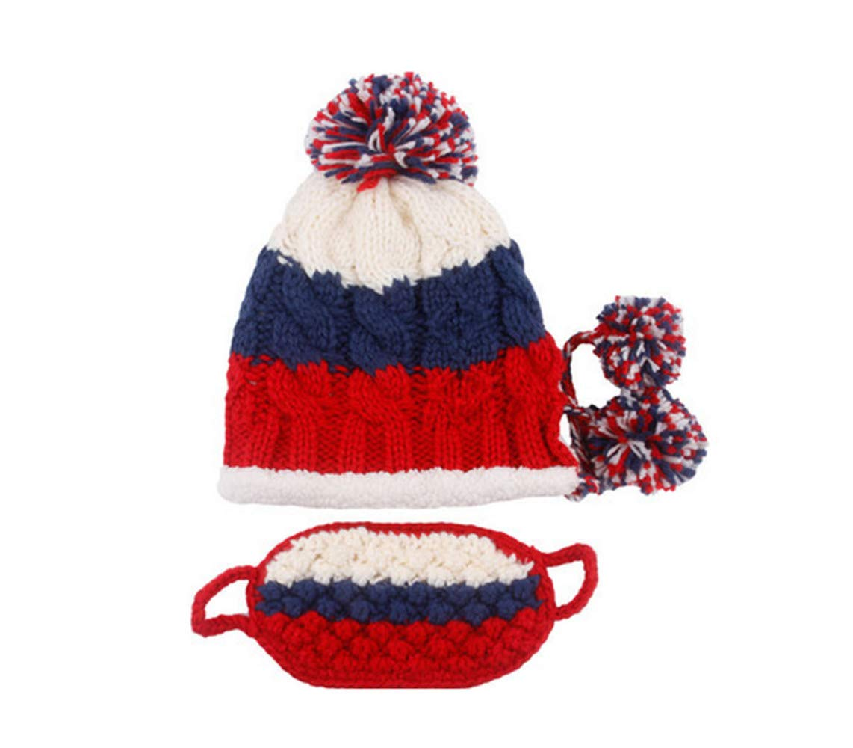 4 Wool Hat Ladies Winter Warm Padded Earmuffs Cap Cold Winter Knit Cap,4OneSize
