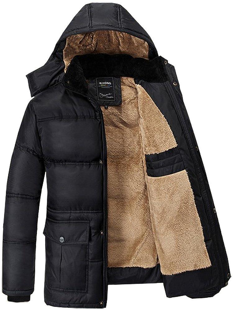 Fashciaga - Abrigo de invierno con capucha de pelo sintético y con forro para hombre negro negro Small
