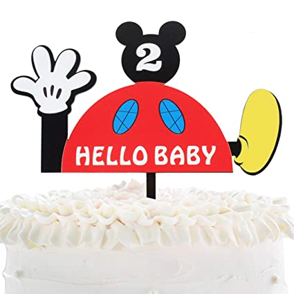 Excellent Hello Baby 2Nd Birthday Cake Topper Disney Mickey Mouse Acrylic Funny Birthday Cards Online Inifodamsfinfo