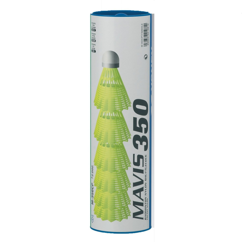 Yonex Mavis 350 Plastic Shuttlecocks (Pkg of 2 tubes (12 pcs) - Yellow Medium Speed) by Yonex (Image #1)