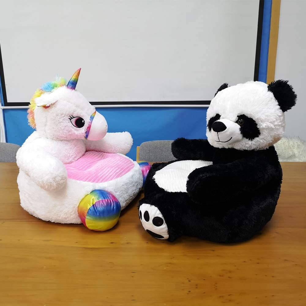 ABIA Plush Baby Sofa Unicorn Armchair Fluffy Animal Chair Stuffed Cushion White