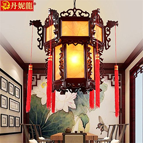 Leihongthebox Ceiling Lights lamp Antique Chinese lantern teahouse temples decorated with chandeliers hanging chandeliers vellum light wooden lamp for Study Room, Bedroom, Living Room,430h450mm by Leihongthebox (Image #1)