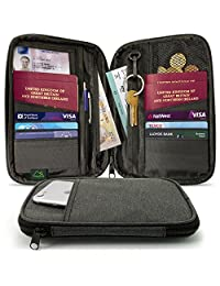 CampTeck Travel Wallet Passport Holder & RFID Organiser Pouch for Credit Debit Cards, IDs, Documents, Money, Ticket, Key, Smartphone etc