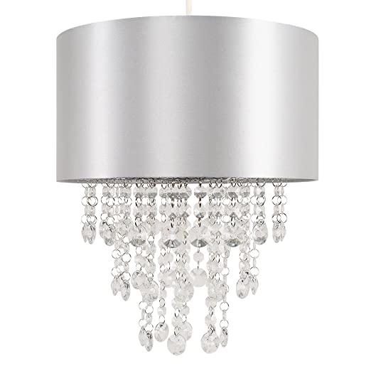 Modern Grey Cylinder Ceiling Pendant Light Shade with Clear Acrylic ...