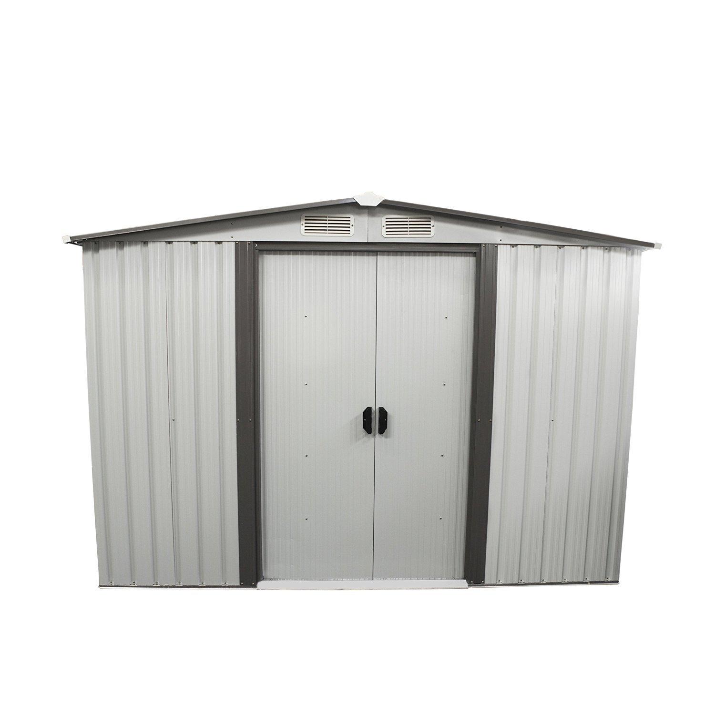 Bestmart INC New 8'x8' Outdoor Steel Garden Storage Utility Tool Shed Backyard Lawn Building Garage with Sliding Door