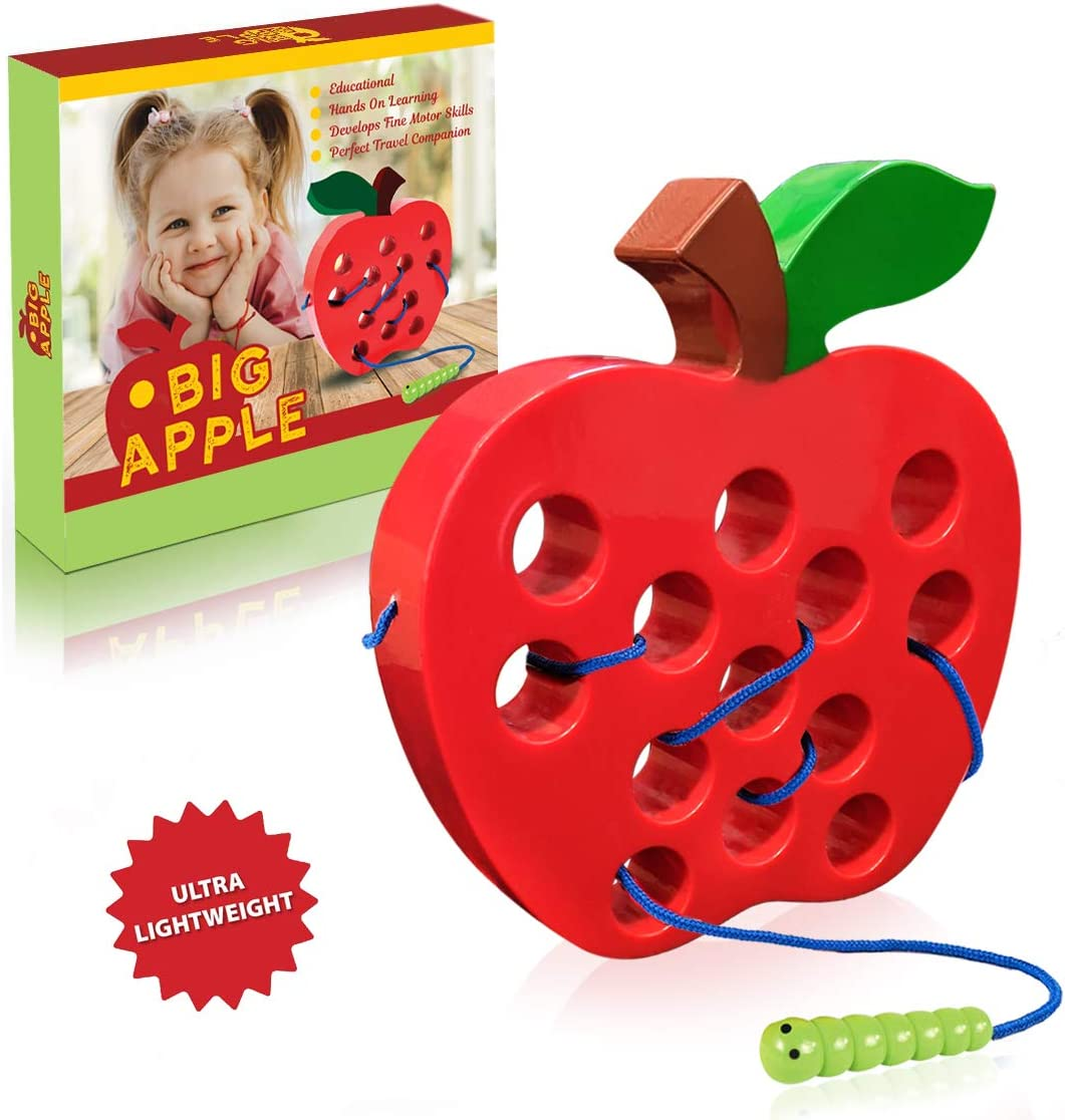 Playahoy Apple Lacing Plastic Threading Toy