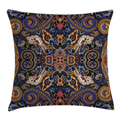 Ambesonne Paisley Throw Pillow Cushion Cover, Moroccan Florets Slavic Effects Heritage Design, Decorative Square Accent Pillow Case, 16 X 16 Inches, Caramel Violet Blue Dark Lavender Dark ()