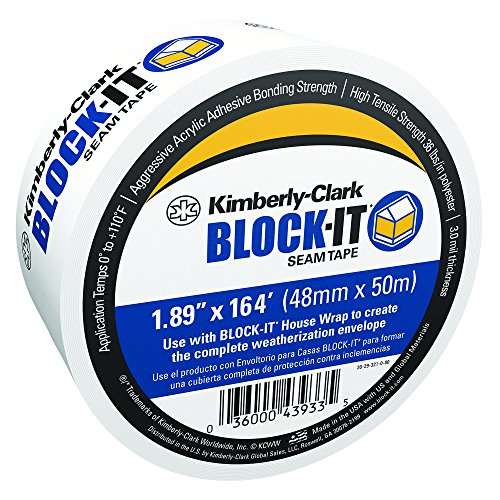 "Kimberly-Clark 43933 Block-It Seam Tape, 3.0 mil Thickness for Installing Block-It House Wrap, 1.89"" x 164'"