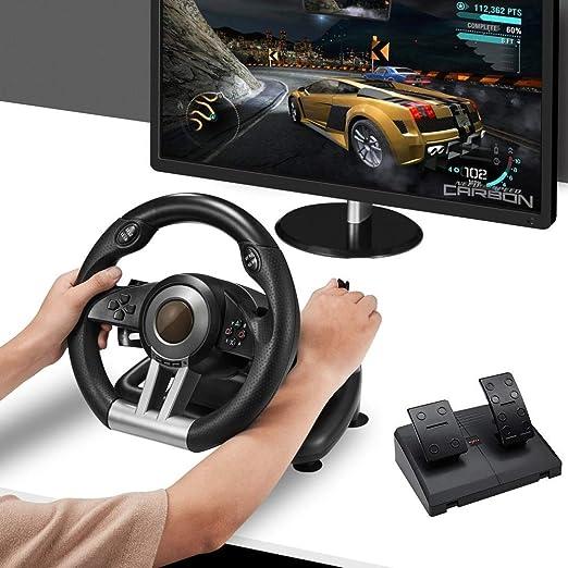 LLGHT Volante De Carrera De Juego Compatible con PC / PS3 / PS4 / Xbox One/Switch, Pedales Precisos para Gas Y Frenos, Motores De Doble Vibración Incorporados Rotación De 180 °: Amazon.es: Hogar
