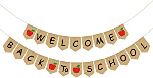 Rainlemon Jute Burlap Welcome Back to School Banner with Apple for First Day of School Party Decoration Supplies