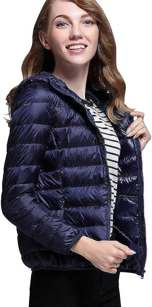 Ultra Light Puffer Coat, QIQIU Women's Solid Hooded Zippers Puffer Outerwear Down Jacket 61koXuzofwL