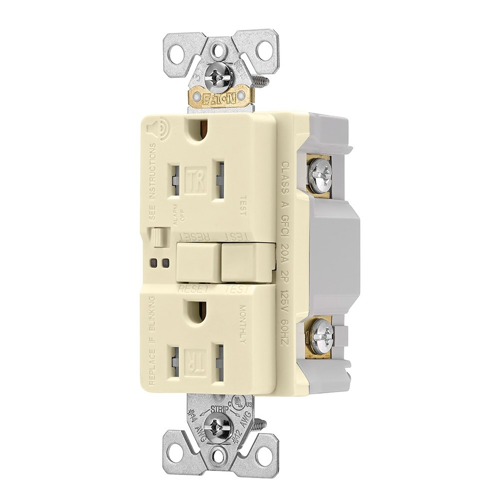 Eaton TRSGFA15A Aaron Hart 15A 125V Tamper Resistant GFCI Receptacle with Audible Alarm, Almond