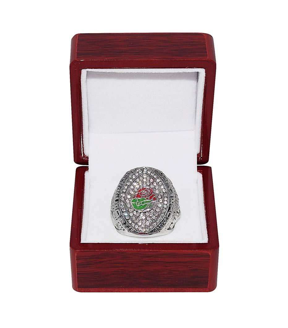UNIVERSITY OF OREGON DUCKS (Marcus Mariota) 2015 ROSE BOWL NATIONAL CHAMPIONS Rare & Collectible Replica NCAA Football Silver Championship Ring with Cherrywood Display Box