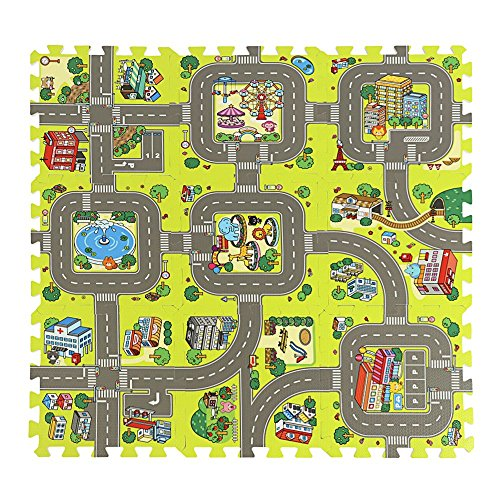 ASSR Road Rally Play Foam Floor Tiles for Kids, 35x35inch Large 9 Piece Interlocking Foam Mats Soft Alternative to Race Track Rug, Perfect Hot Wheels Mat or Other Toy Cars by ASSR
