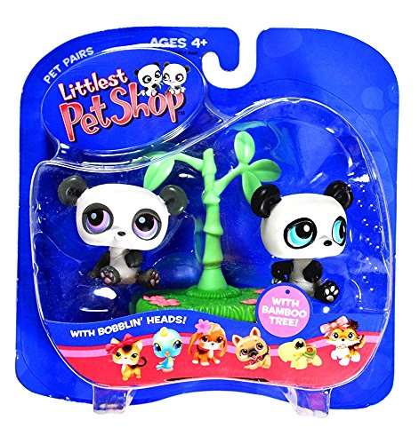 Hasbro Year 2005 Littlest Pet Shop Pet Pairs Bobble Head Pet Figure Set - TWIN BABY PANDAS with