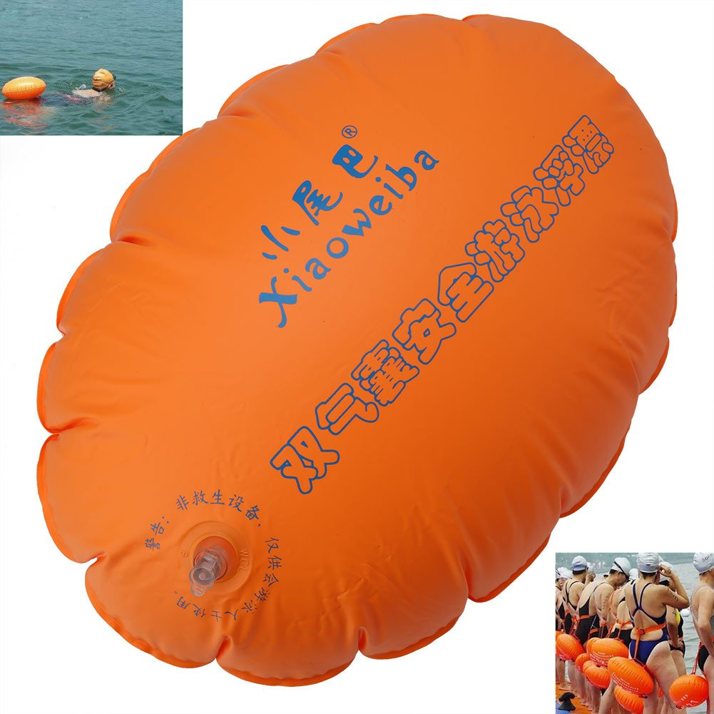 Swim Buoy - Swim Safety Float for Open Water Swimmers Highly Visible Inflatable Air Life Buoy Float with Strap for Safe Swim Training Swimming Surfing Snorkeling