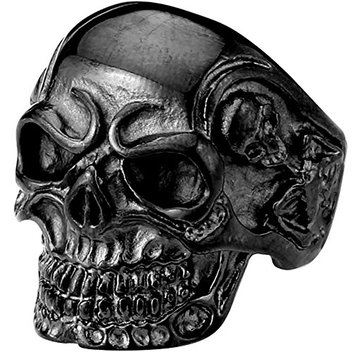 Mens Vintage Gothic Skull Bone Biker Stainless Steel Ring Band Black
