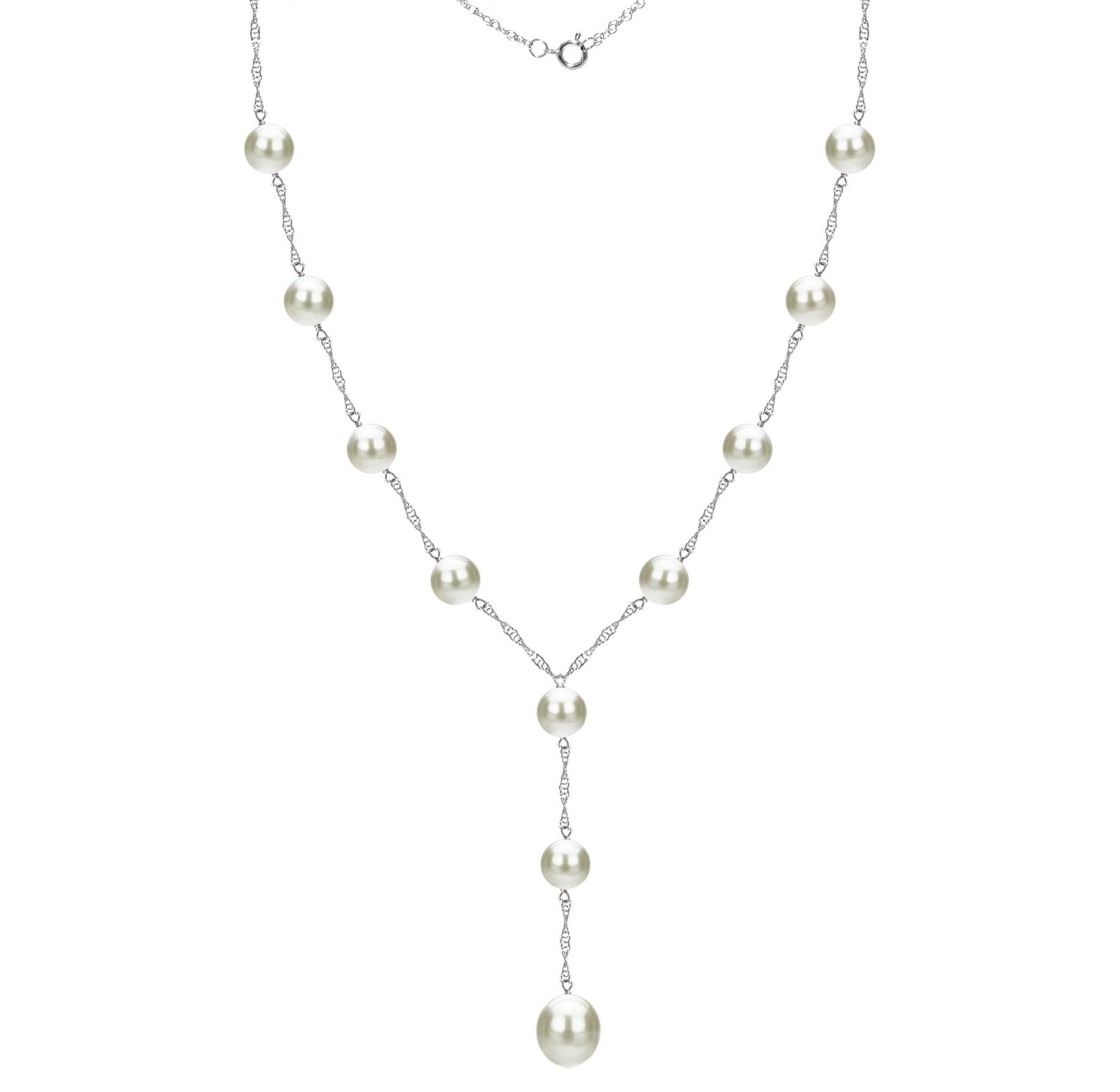 14k White Gold 8-8.5mm and 9-9.5mm White Freshwater Cultured Pearl Station Necklace, 24'' + 2'' Drop by La Regis Jewelry