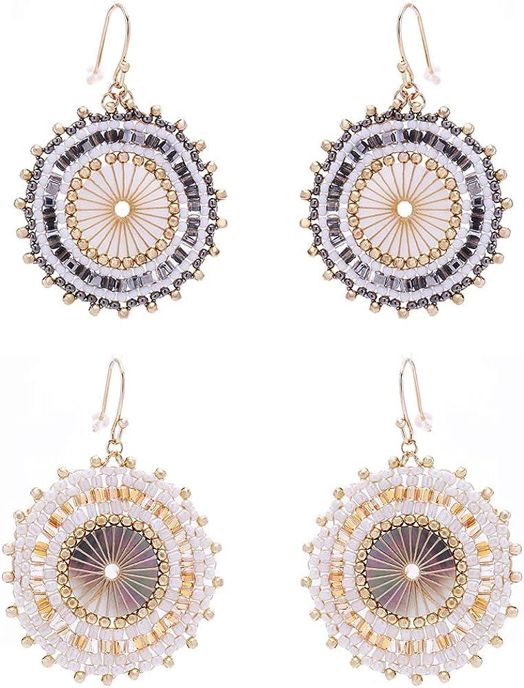 Drop Earrings for Women, 2 Pairs Pure Handmade Earrings Bohemian Acrylic Dangle Beads Earrings