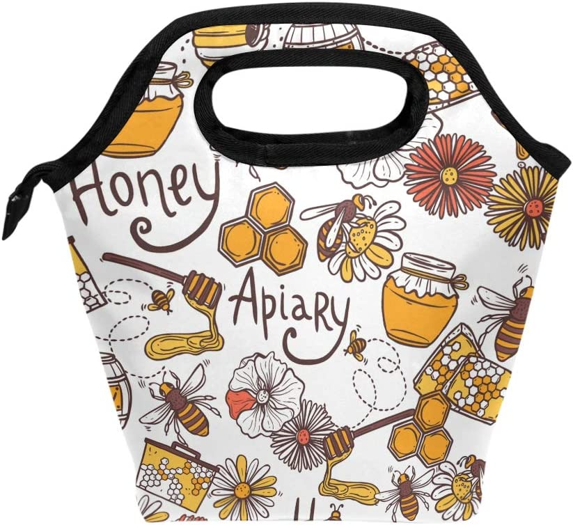 Lunch Bag Countryside Honey Bee Apiary Insulated Lunchbox Thermal Portable Handbag Food Container Cooler Reusable Outdoors Travel Work School Lunch Tote