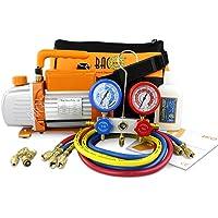 BACOENG 3 CFM Pompe à vide et Collecteur Jauge Ensemble/Manifold Gauge – Chauffage, Ventilation et Climatisation A/C réfrigération kit – Idéal pour R407C R22 R134a R410A