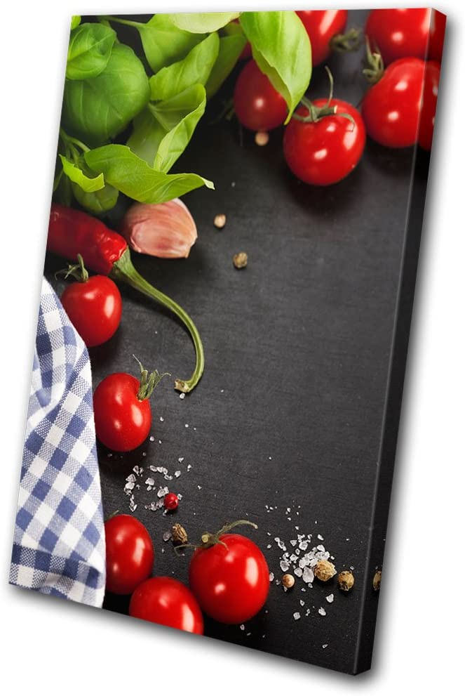 Bold Bloc Design - Food Kitchen Tomato Restaurant - 135x90cm Canvas Art Print Box Framed Picture Wall Hanging - Hand Made in The UK - Framed and Ready to Hang
