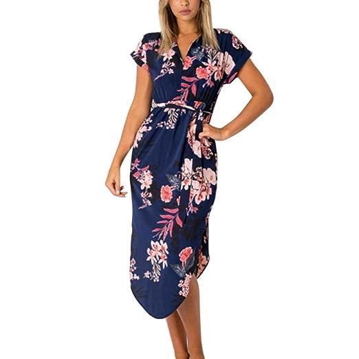 02d65ebab2446 Hunzed Women Dress, Fashion { Short Sleeve Dress } Casual { V Neck Dress }