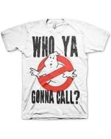 Offizielles Lizenzprodukt Ghostbusters Who Ya Gonna Call? T-Shirt (Weiß)