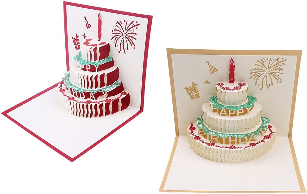 Incredible Bloomeet 2 Pack 3D Pop Up Cake Origami Card Happy Birthday Funny Birthday Cards Online Alyptdamsfinfo