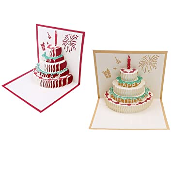 Bloomeet 2 Pack 3D Pop Up Cake Origami Card Happy Birthday Greeting With Envelope