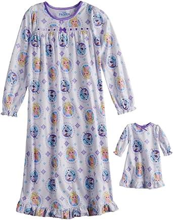 Disney Frozen Elsa /& Olaf Nightgown /& Doll Nightgown Girls Size 8
