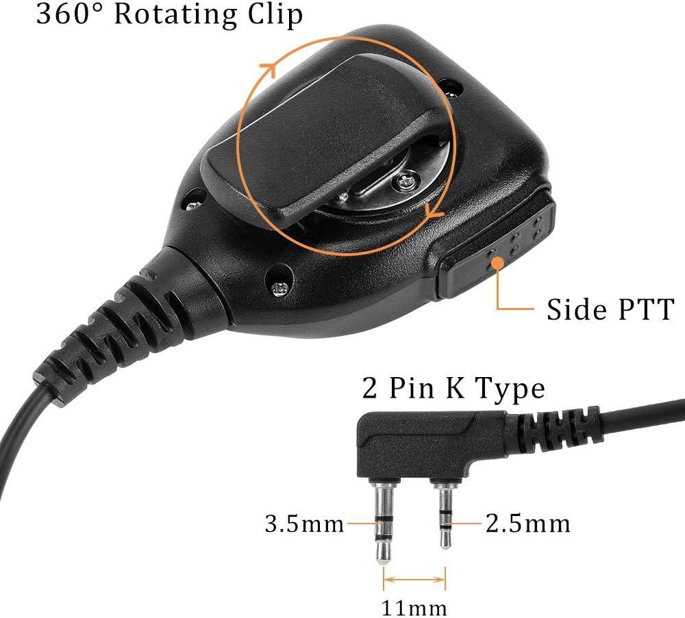 6 Packs Sanzuco BaoFeng Retevis Handheld 2 Pin Speaker Mic for Two Way Radio