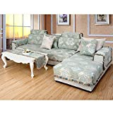 Jacquard surefit sofa slipcovers cotton,Sofa covers sectional,Sofa protector cover throw anti slip luxury couch covers for living room-green 90x260cm(35x102inch)